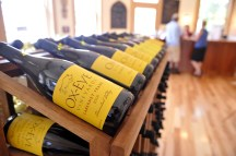 Racks of wine at the Ox Eye tasting room