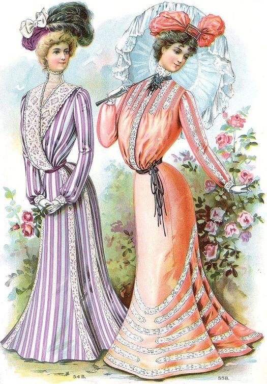 Fashionably dressed Edwardian women.