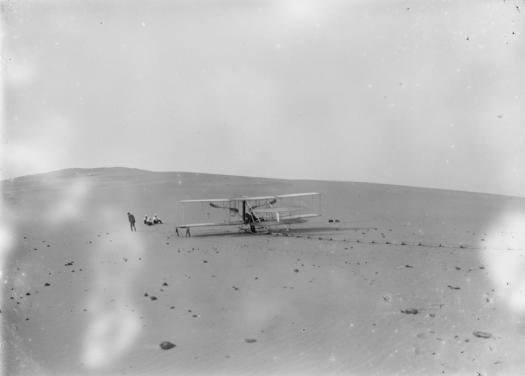 The Wright Flyer III on the sands at Kitty Hawk in 1908, ready to launch.