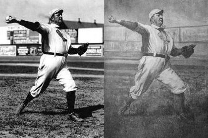 Cy Young photo and painting, 1908. We know it's 1908 because that's the only year that Boston had the red sock on their jersey.