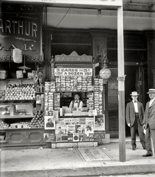 "1908. ""Smallest news & post card stand in New Orleans, 103 Royal Street."""