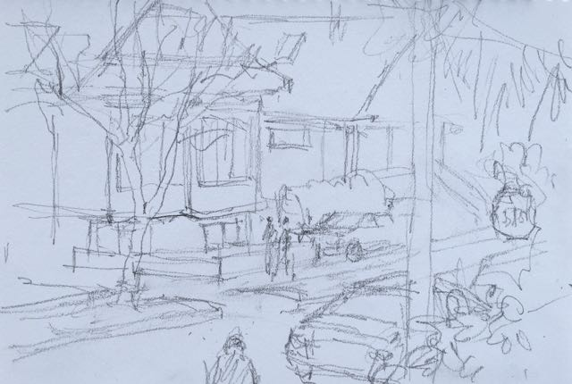 Sketch a Day 365-20  pencil, View of the Street   - A day I really didn't feel like sketching!!