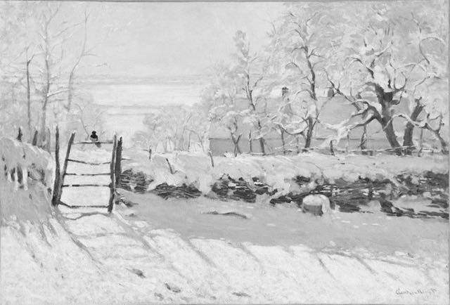 "Claude Monet, ""The Magpie,"" 1868-1869, oil on canvas, 35 x 51 1/4 in, Musee d'Orsay, Paris - in black and white"