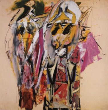 "Inspiration for Trust painting: Willem de Kooning, ""Two Women On A Wharf,"" 1949, oil, enamel, pencil and collage on paper, 24 7/16  x 24 9/16 in, Art Gallery of Ontario, Toronto"