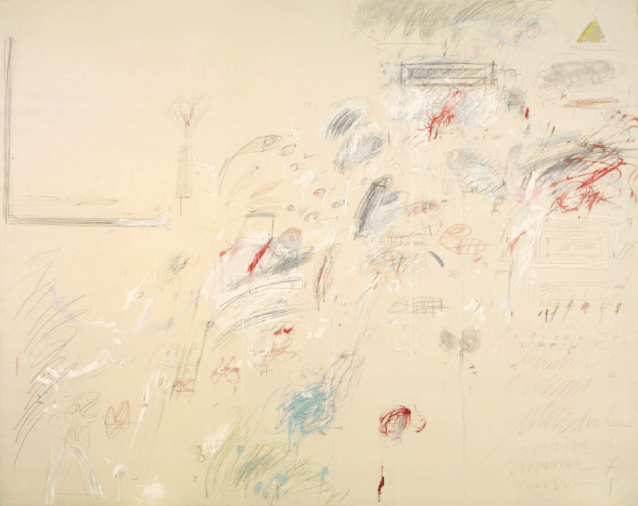 "Who are you as an artist? Cy Twombly, ""The First Part of the Return from Parnassus,"" 1961, oil paint, lead pencil, wax crayon, coloured pencil on canvas, 94 3/4 x 118 3/8 in, Art Institute of Chicago"