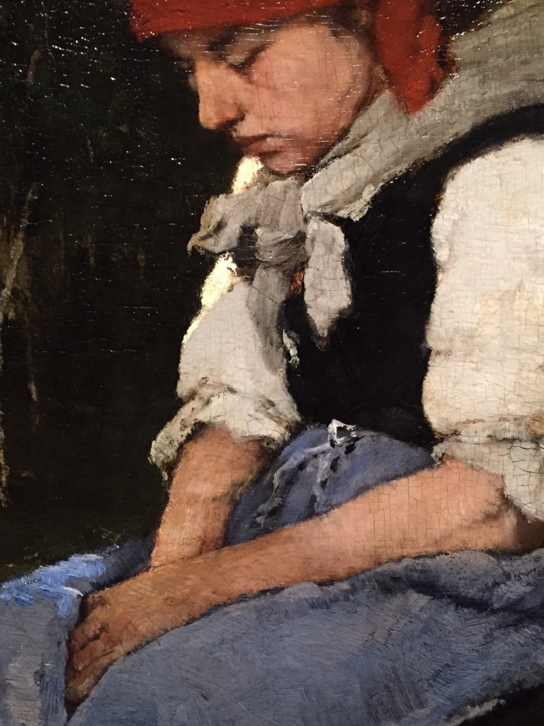 "Mihály Munkácsy, ""Woman Carrying Brushwood,"" 1873, oil on wood, 41 x 31 1/2 in (99 x 80 cm), Hungarian National Gallery, Budapest-detail"