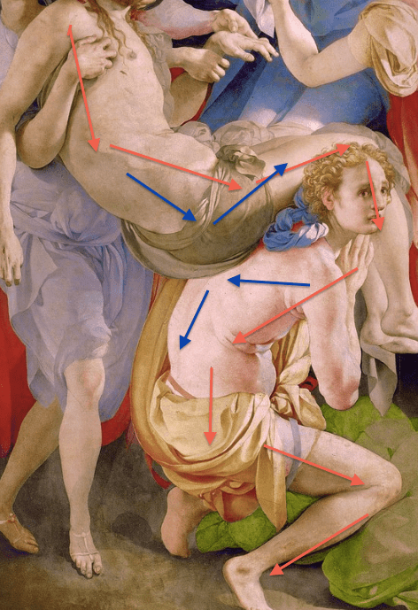 "Jacopo Carucci da Pontormo, ""The Deposition,""1526-1528, oil on wood, 313 x 192 cm (123 x 76 in), Capponi chapel, Santa Felicita, Florence. Detail"