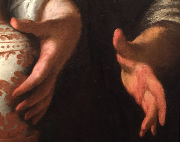 Hands in Paintings (SAM): Bernardo Strozzi, Hagar and the Angel, soon after 1630, oil on canvas, 48 7/8 x 37 in (124.14 x 93.98 cm), Seattle Art Museum - Detail