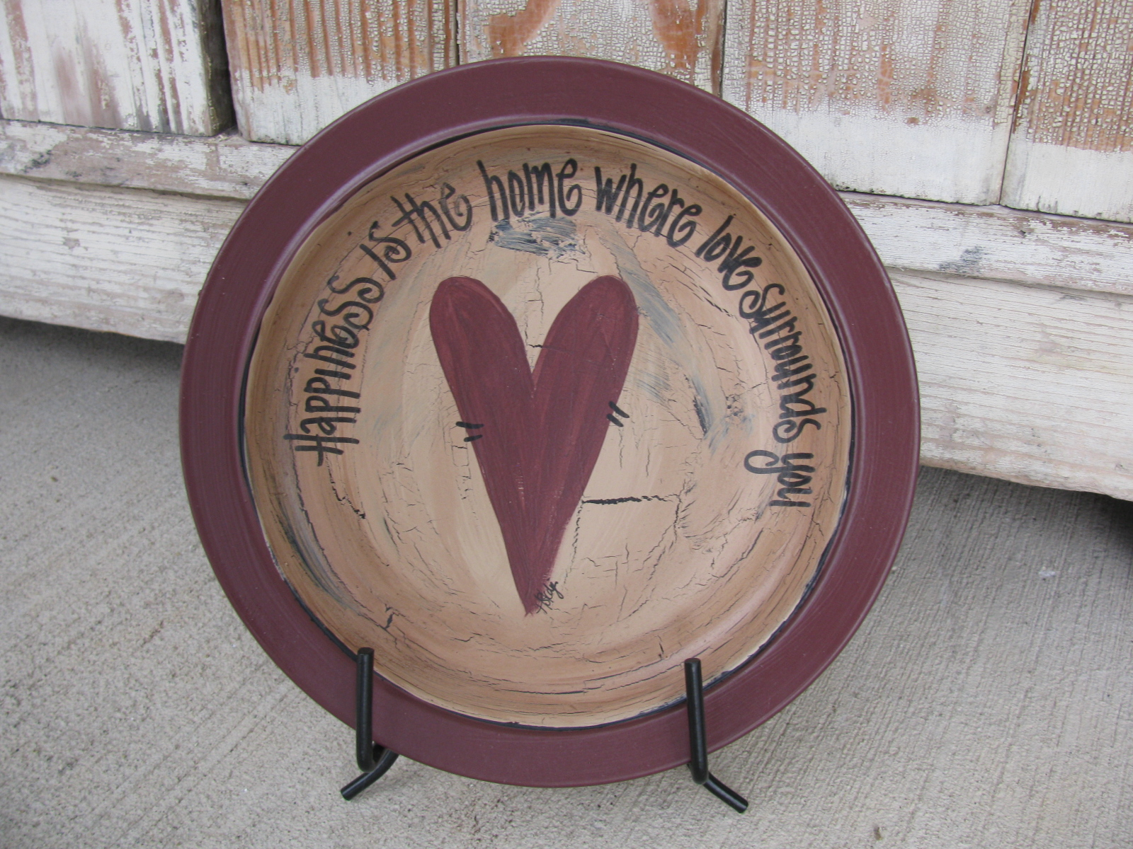 Primitive Happy Heart Valentine Hand Painted Plate