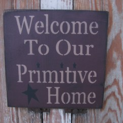 Beach Kitchen Decor Cabnet Primitive Welcome To Our Home Wood Stenciled Sign