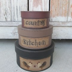 Rooster Kitchen Decor Cabinets Atlanta Primitive Country Square Stacking Boxes