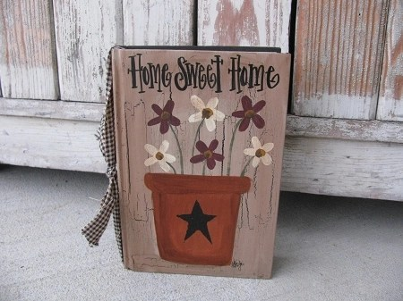 country kitchen decor faucets review primitive flower pot and flowers hand painted vintage book