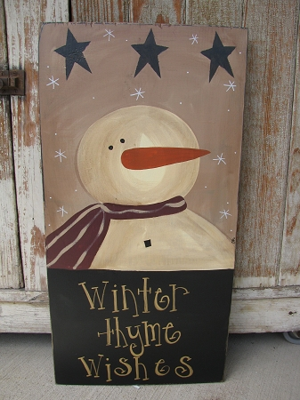 Primitive Snowman and Stars Painted Wood Sign