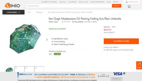 Van Gogh Masterpiece Oil Painting Folding Sun-Rain Umbralla Linio Mexico