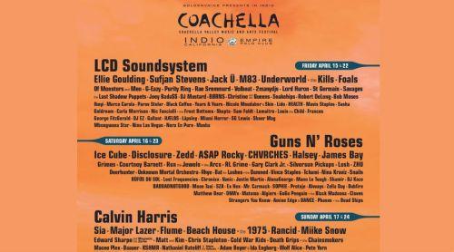 Coachella confirma: Guns n' Roses, LCD Soundsystem y Calvin Harris, headliners