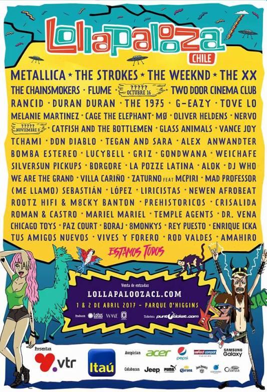 Lollapalooza 2017: Metallica y The Strokes encabezan carteles en Sudamérica