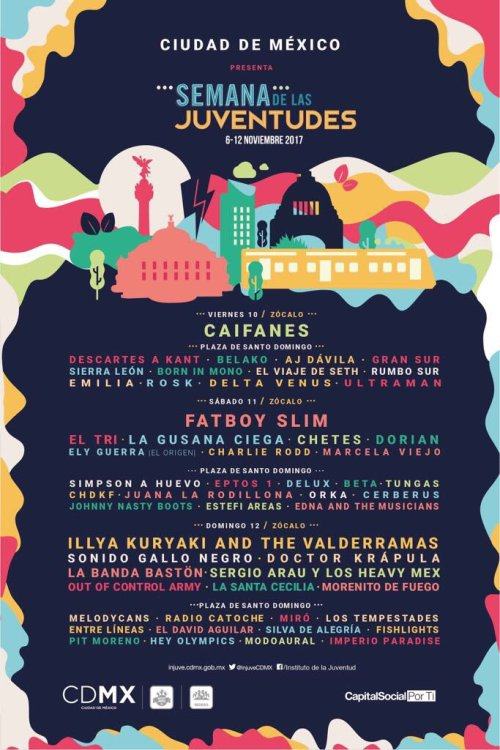 Caifanes y Fatboy Slim encabezan el cartel de la Semana de las Juventudes 2017