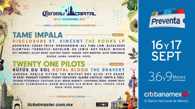 Corona Capital 2021: que siempre sí habrá festival y Tame Impala, Twenty One Pilots, Disclosure y St. Vincent lo encabezan