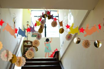 stairs in school hallway with bunting