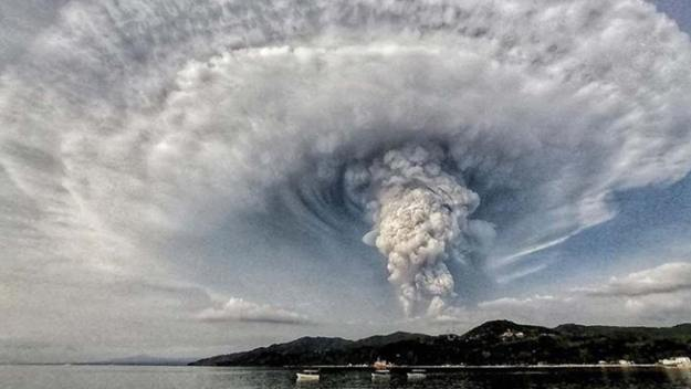 Taal Erupts Sunday Afternoon
