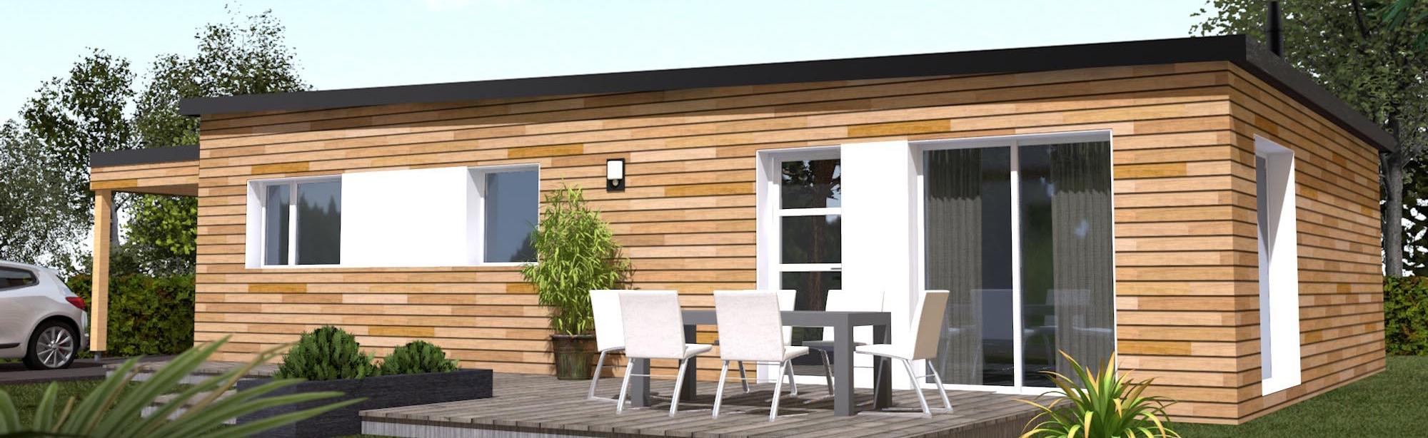 Maison plain pied en bois maisons ossature bois de for Modele maison en bois plain pied
