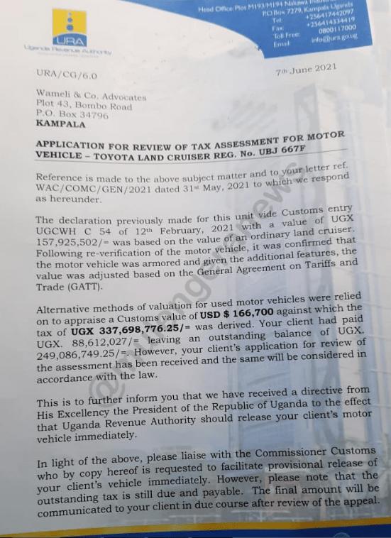 URA's letter to Bobi Wine