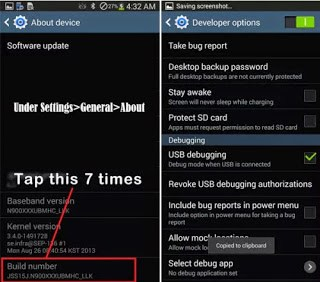 Enable USB Debugging Mode on your Samsung device by going to developer options ( If you can't find Developer Options you must show it by going to Settings > About phone then tab 7 times on Build Number and you will get message tell you that the developer options are enabled , See the image below).