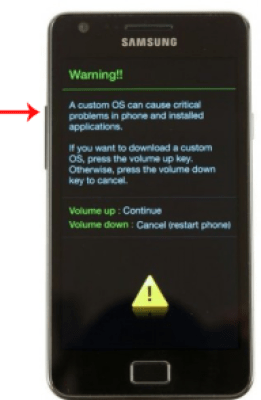 Shown the following alert override Warning by pressing the button to raise the volume and you will see the following image