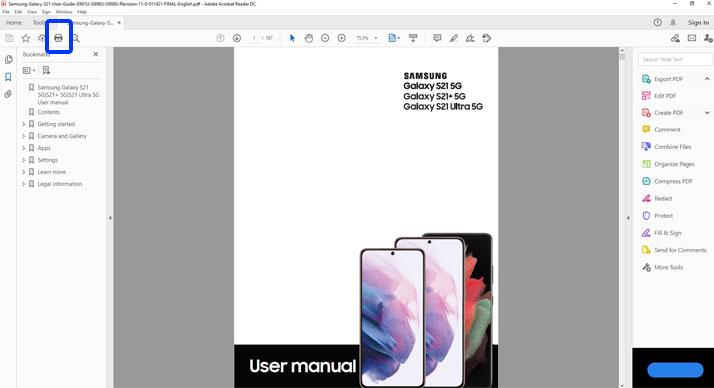 print galaxy s21 user manual