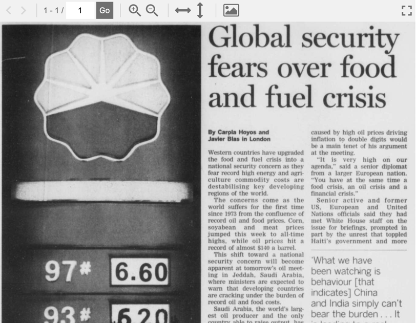 """Hoyos, Carpia, et al. """"Global security fears over food and fuel crisis."""" Financial Times, 21 June 2008, p. [1]. Financial Times Historical Archive, http://tinyurl.galegroup.com/tinyurl/8r5MV0"""