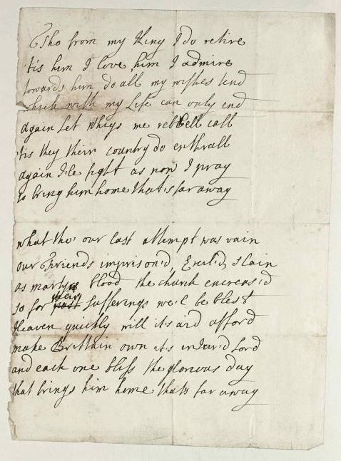 A poem by James Murray, the Jacobite Earl of Dunbar, early 1721. Source location: RA. SP Box 3/9/2