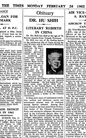 Obituary in the Times for Dr. Hu Shih, a key figure in the May Fourth Movement