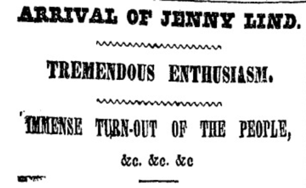 """Arrival of Jenny Lind."" Weekly Herald, 7 Sept. 1850, p. 285. Nineteenth Century U.S. Newspapers"