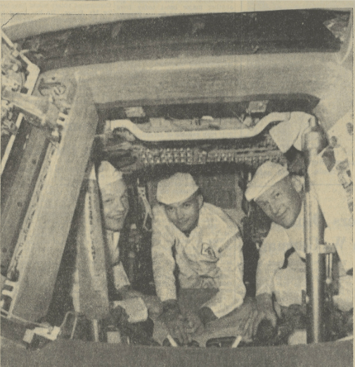 """The Apollo astronauts getting…familiar with the capsule that will take them to the suburbs of the moon next month…from left: Neil Armstrong, Michael Collins and Edwin Aldrin."" ""Astronauts to Plant U.S. Flag on the Moon."" International Herald Tribune [European Edition], 12 June 1969, p. [1]+. International Herald Tribune Historical Archive 1887-2013,"