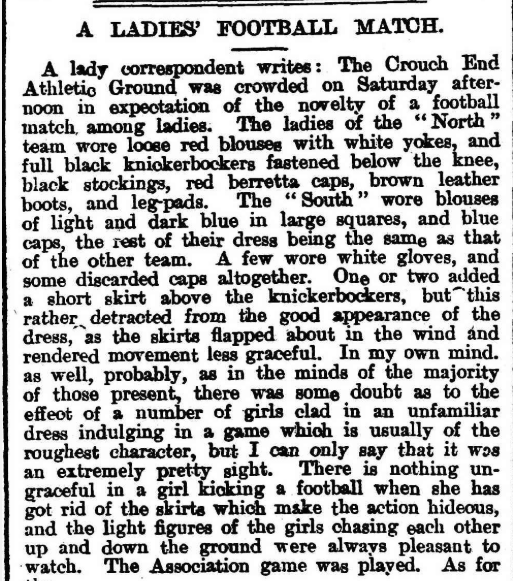 """""""A Ladies' Football Match."""" Eastern Weekly Leader, 30 Mar. 1895, p. 2. Nineteenth Century Collections Online"""