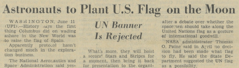 """Astronauts to Plant U.S. Flag on the Moon."" International Herald Tribune [European Edition], 12 June 1969, p. [1]+. International Herald Tribune Historical Archive 1887-2013"