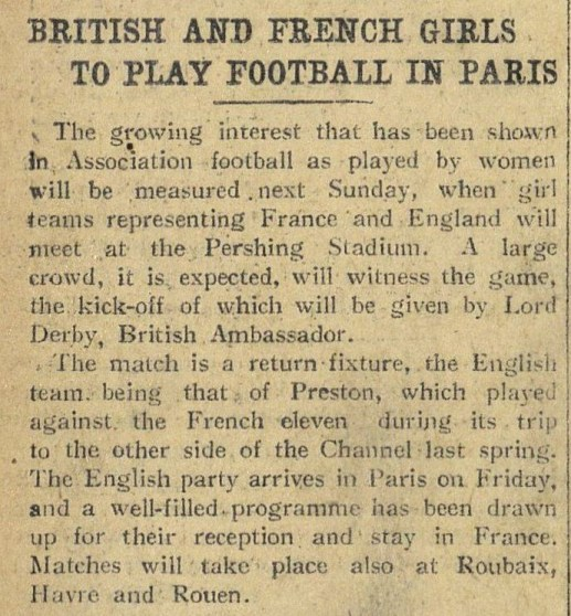 """""""British and French Girls to Play Football in Paris."""" New York Herald [European Edition], 24 Oct. 1920, p. 6. International Herald Tribune Historical Archive 1887-2013"""