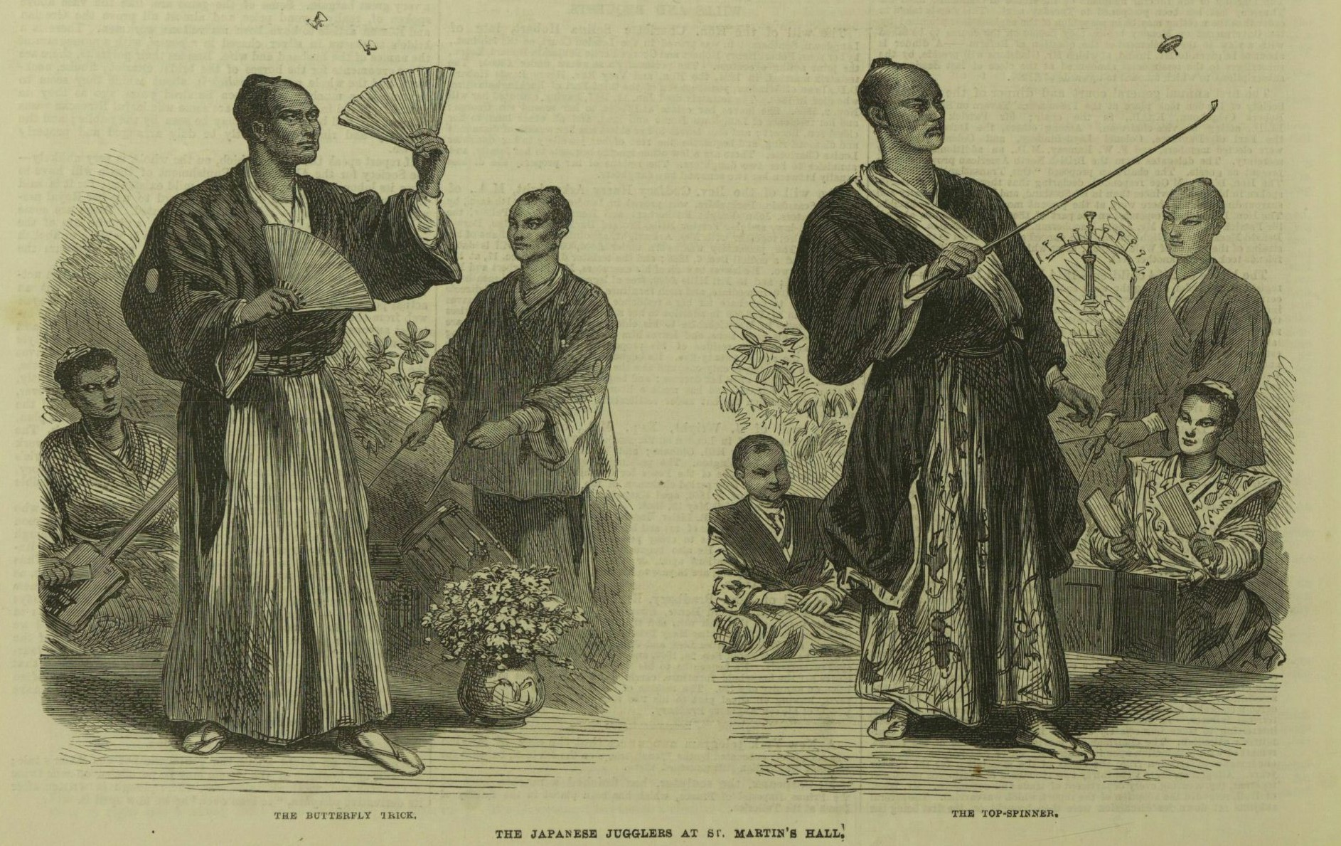 """The Japanese Jugglers."" Illustrated London News, 23 Feb. 1867, p. 176. The Illustrated London News Historical Archive, 1842-2003"