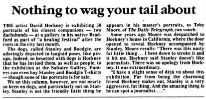 """""""Nothing to wag your tail about."""" Sunday Telegraph, 2 July 1995, p. 34. The Telegraph Historical Archive,"""