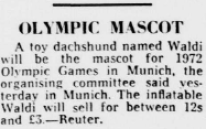 """Reuter. """"Olympic Mascot."""" Daily Telegraph, 6 Jan. 1971, p. 4. The Telegraph Historical Archive,"""