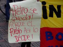 Mensaje en manifestación contra destitución de Gustavo Petro