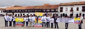 Manifestantes en BOyacá a favor del Voto en Blanco