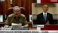 Raúl Castro y Barack Obama anuncian el reestablecimiento de relaciones políticas y comerciales en 2014.