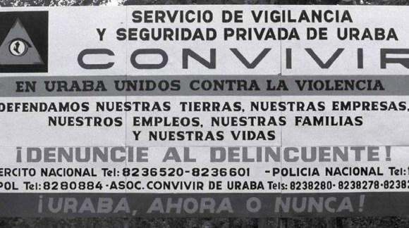 Hay pruebas que demuestran que las Cooperativas de Vigilancia (Convivir) fueron diseñadas desde el paramilitarismo y usadas como una fachada para recibir financiación de las empresas bananeras. Foto: zonacero.com