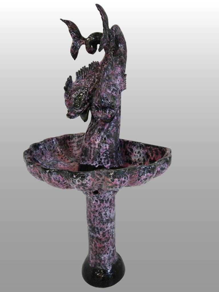 Grande fontaine en cramique de Vallauris vers 1950
