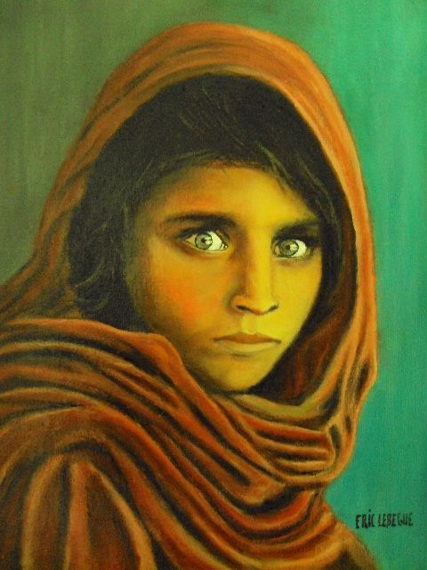 Peinture portrait dune afghane