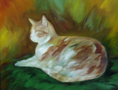 Peinture Mon Chat sur un coussin