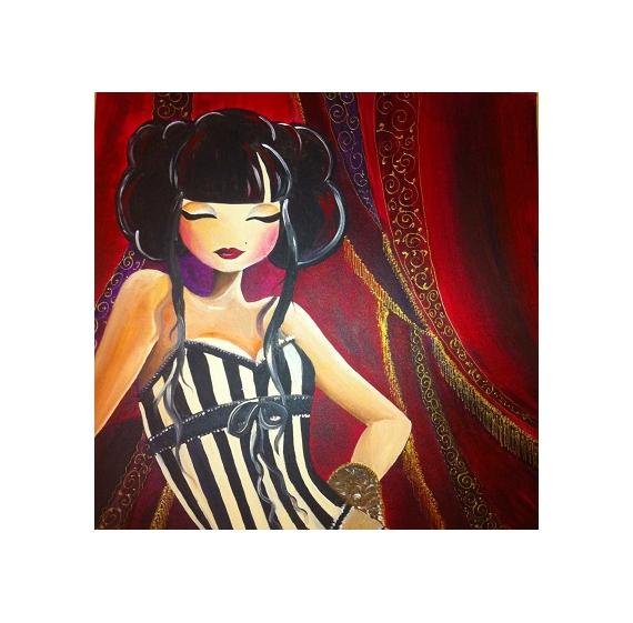 TABLEAU PEINTURE Cabaret Manga Chinoise Rouge Chinese