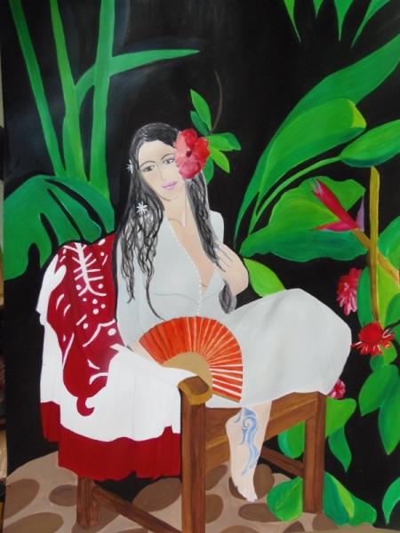 TABLEAU PEINTURE femme sensuelle exotique  oiseau de paradis