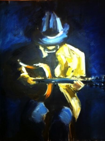 TABLEAU PEINTURE Guitariste Jaune Chapeau Le Guitariste